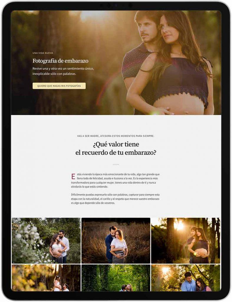 Auditoría web para fotógrafos - ipad embarazo Rafa Sanz - Rafa Martino